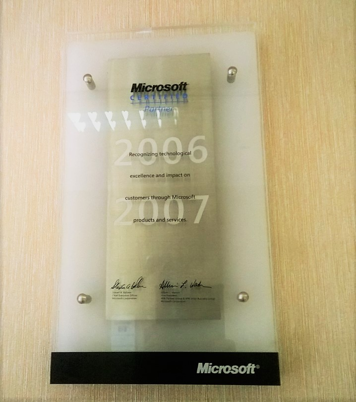 Our first Microsoft GOLD Partner plaque